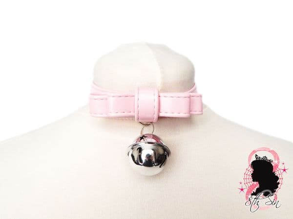 Pink Bow and Bell Choker